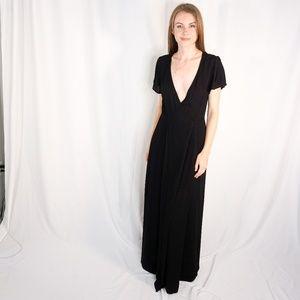 LULUS Heart of Marigold Black Wrap Maxi Dress